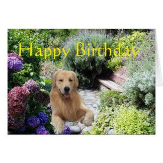 Golden Retriever Happy Birthday Garden Card