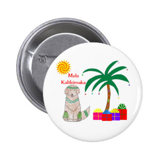Golden Retriever Hawaiian Christmas 2 Inch Round Button