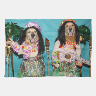 Golden Retriever Hawaiian Hula Dancers Kitchen Towel
