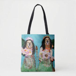 Golden Retriever Hawaiian Hula Dancers Tote Bag