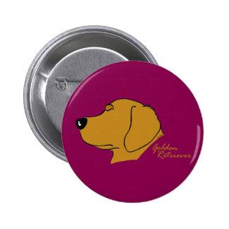 Golden retriever head silhouette 2 inch round button