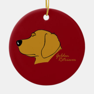 Golden retriever head silhouette ceramic ornament