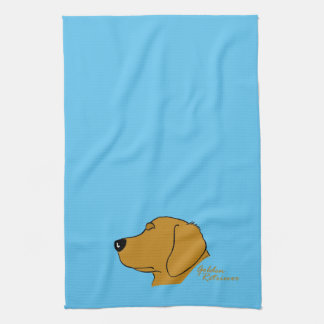 Golden retriever head silhouette kitchen towel