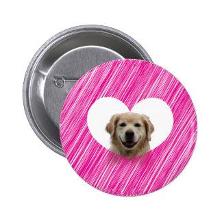 Golden Retriever Heart Valentine's Day 2 Inch Round Button