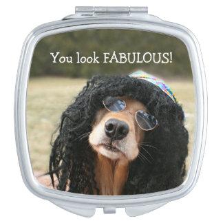 Golden Retriever Hippie Makeup Mirror