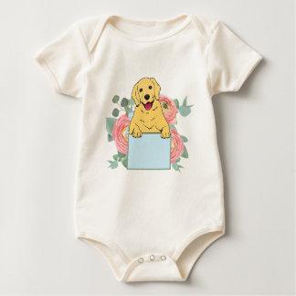 Golden Retriever Holding Sign Baby Bodysuit
