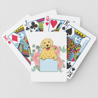 Golden Retriever Holding Sign Bicycle Playing Cards