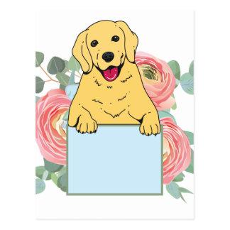 Golden Retriever Holding Sign Postcard