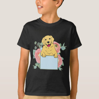 Golden Retriever Holding Sign T-Shirt
