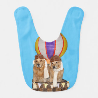 Golden Retriever Hot Air Balloon Pilots Baby Bib