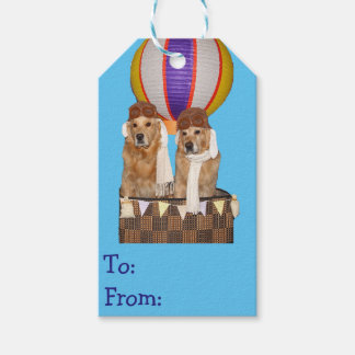 Golden Retriever Hot Air Balloon Pilots Gift Tags