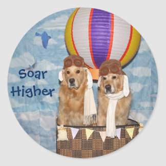Golden Retriever Hot Air Balloon Pilots Round Sticker