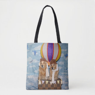 Golden Retriever Hot Air Balloon Pilots Tote Bag