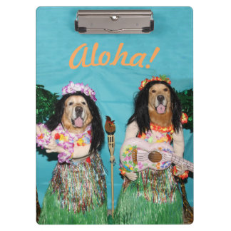 Golden Retriever Hula Dancers Aloha Clipboard