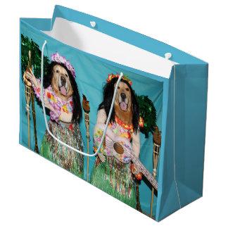 Golden Retriever Hula Dancers Large Gift Bag