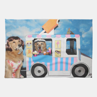 Golden Retriever Ice Cream Truck Kitchen Towel