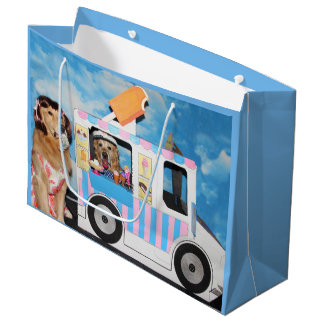 Golden Retriever Ice Cream Truck Large Gift Bag