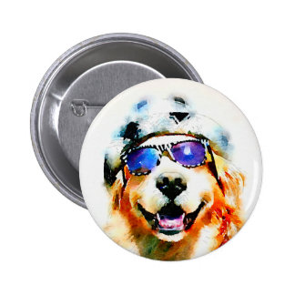 Golden Retriever in Hat and Sunglasses Watercolor 2 Inch Round Button