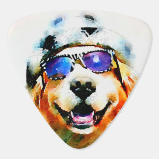 Golden Retriever in Hat and Sunglasses Watercolor Guitar Pick
