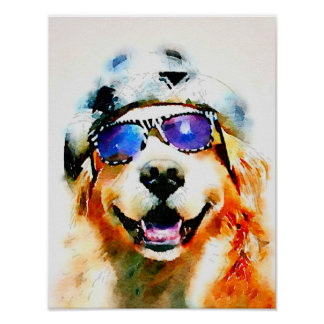 Golden Retriever in Hat and Sunglasses Watercolor Poster