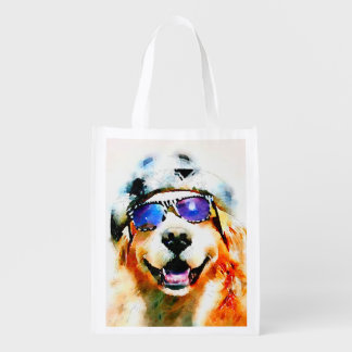 Golden Retriever in Hat and Sunglasses Watercolor Reusable Grocery Bag