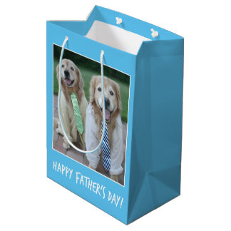 Golden Retriever in Shirt and Tie Father's Day Medium Gift Bag
