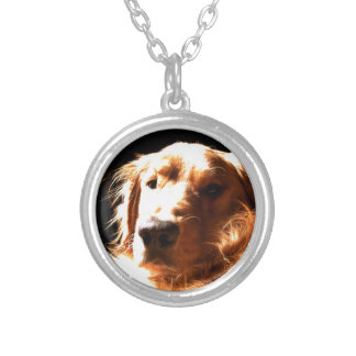 Golden Retriever In Sunlight Silver Plated Necklace