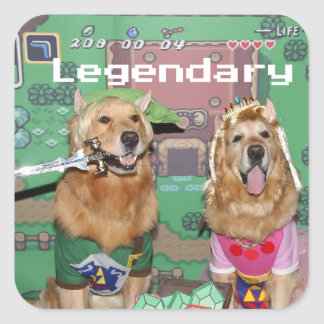 Golden Retriever Legendary Zelda Square Sticker