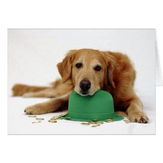 Golden Retriever Leprechaun Card