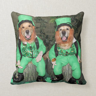 Golden Retriever Leprechauns on Stumps Throw Pillow