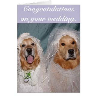 Golden Retriever Lesbian Brides Wedding Card