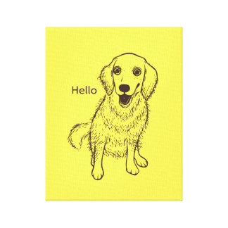 Golden Retriever Line Art Canvas Print