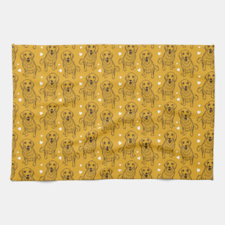 Golden Retriever Line Art Kitchen Towel