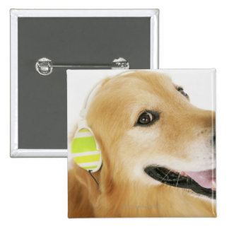 Golden retriever listening to music 2 inch square button