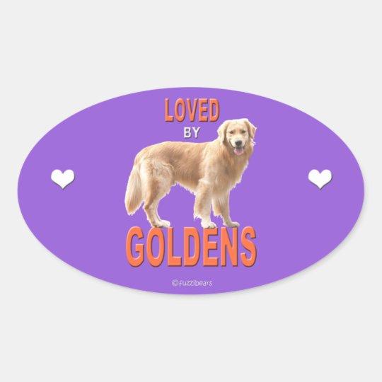 Golden Retriever 'Love' Oval Sticker