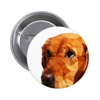 Golden Retriever Low Poly Art 2 Inch Round Button