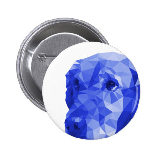 Golden Retriever Low Poly Art in Blue 2 Inch Round Button