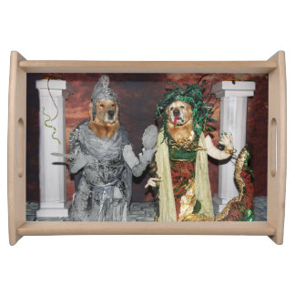 Golden Retriever Medusa and Stone Soldier Serving Tray