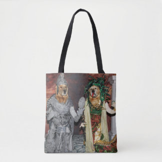 Golden Retriever Medusa and Stone Soldier Tote Bag