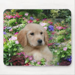 Golden Retriever Mousepad Flower Garden