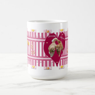 "Golden Retriever Mug ""Golden Hearts"" 15oz Burgundy"