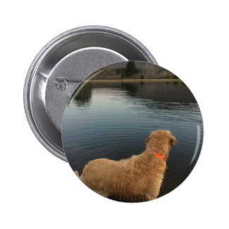 Golden Retriever on a Rock at the Lake 2 Inch Round Button