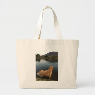 Golden Retriever on a Rock at the Lake Large Tote Bag