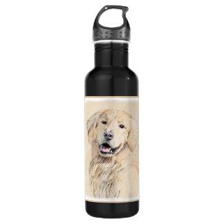 Golden Retriever Painting - Cute Original Dog Art 710 Ml Water Bottle