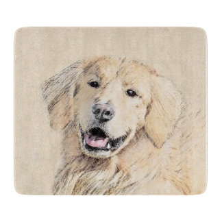 Golden Retriever Painting - Cute Original Dog Art Cutting Board