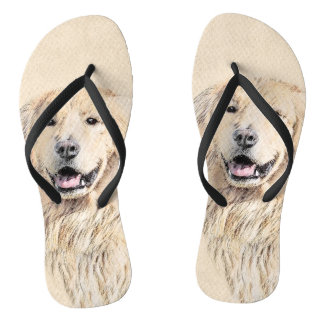 Golden Retriever Painting - Cute Original Dog Art Flip Flops