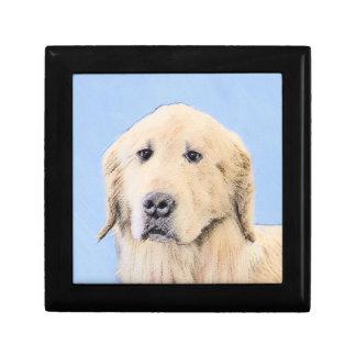 Golden Retriever Painting - Cute Original Dog Art Gift Box