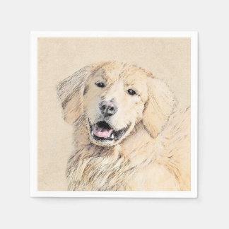 Golden Retriever Painting - Cute Original Dog Art Paper Napkin
