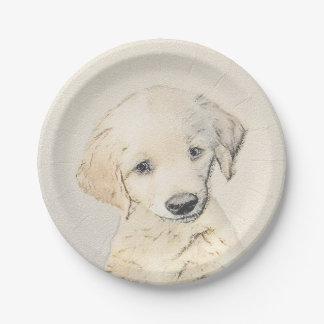 Golden Retriever Painting - Cute Original Dog Art Paper Plate
