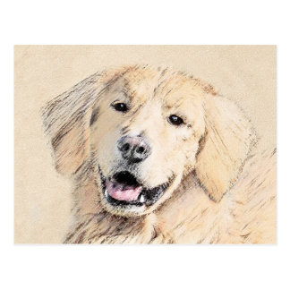 Golden Retriever Painting - Cute Original Dog Art Postcard